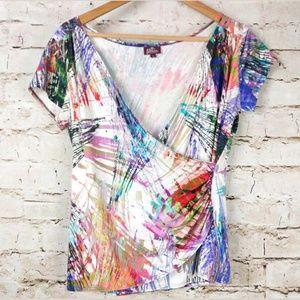 Salaam Paint Splatter Print ShirtFaux Wrap Art